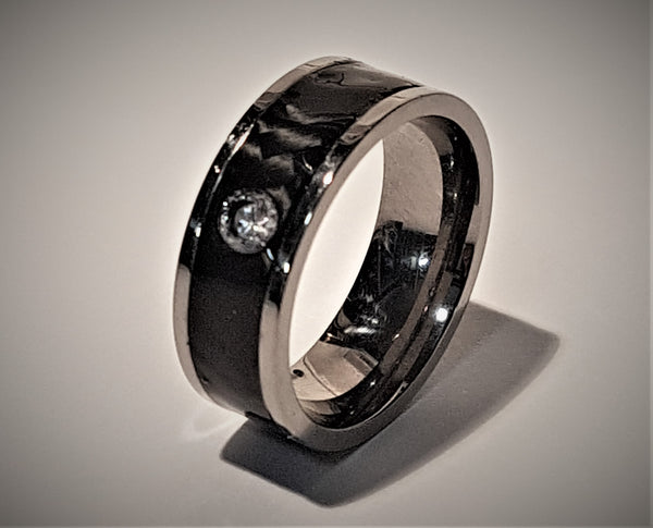 Carbon Fibre and Titanium Diamond Ring 8mm
