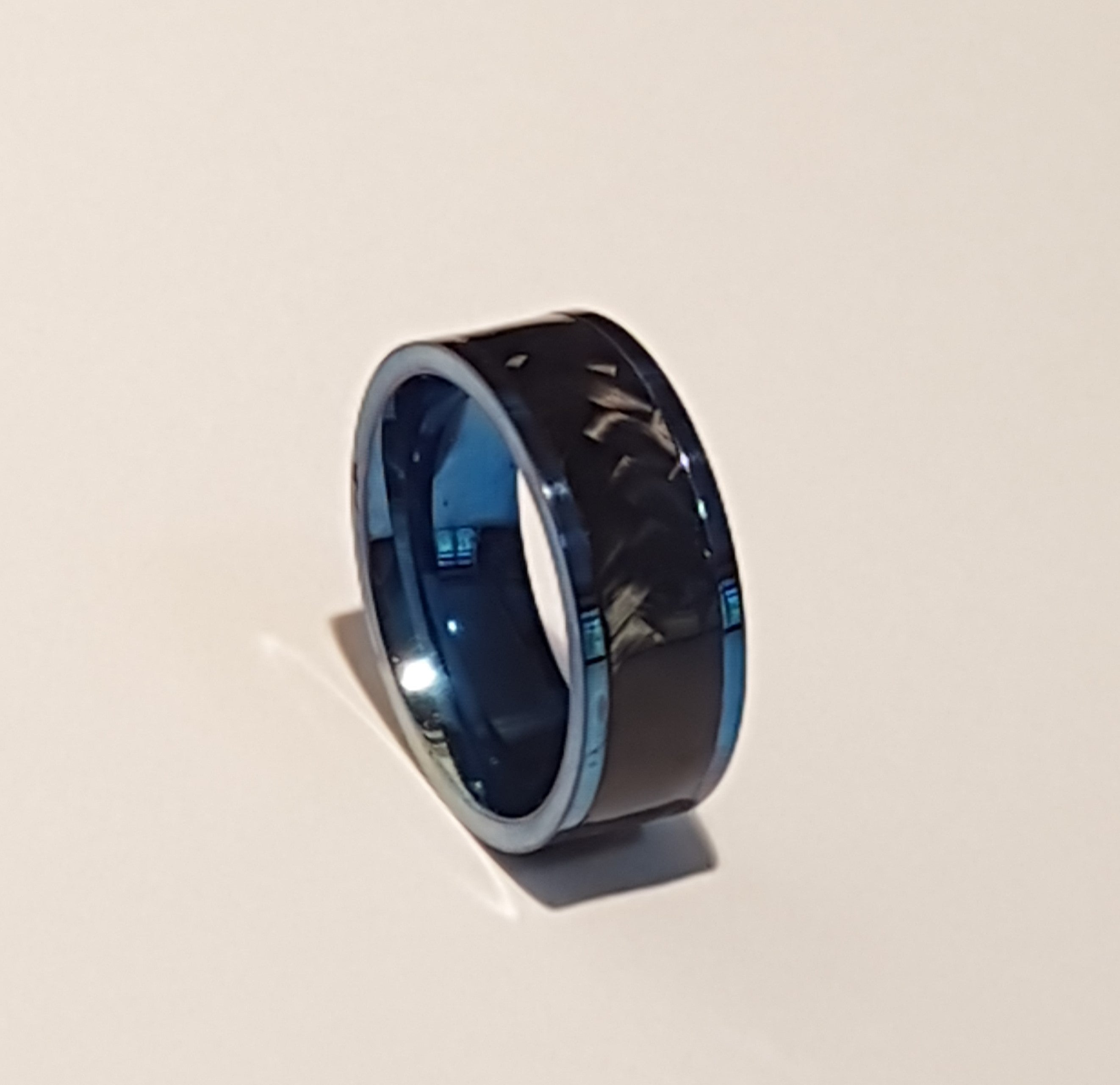 Blue Titanium and carbon fibre band ring