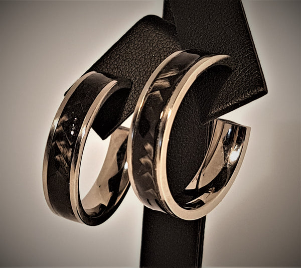 Carbon Fibre and Titanium Hoop Earrings