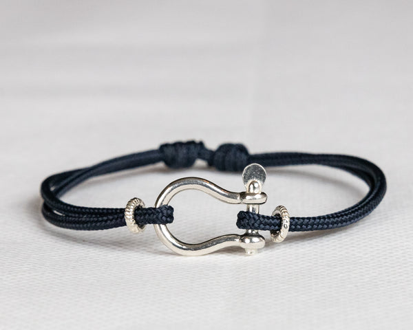 Silver Bow Shackle Cord Bracelet