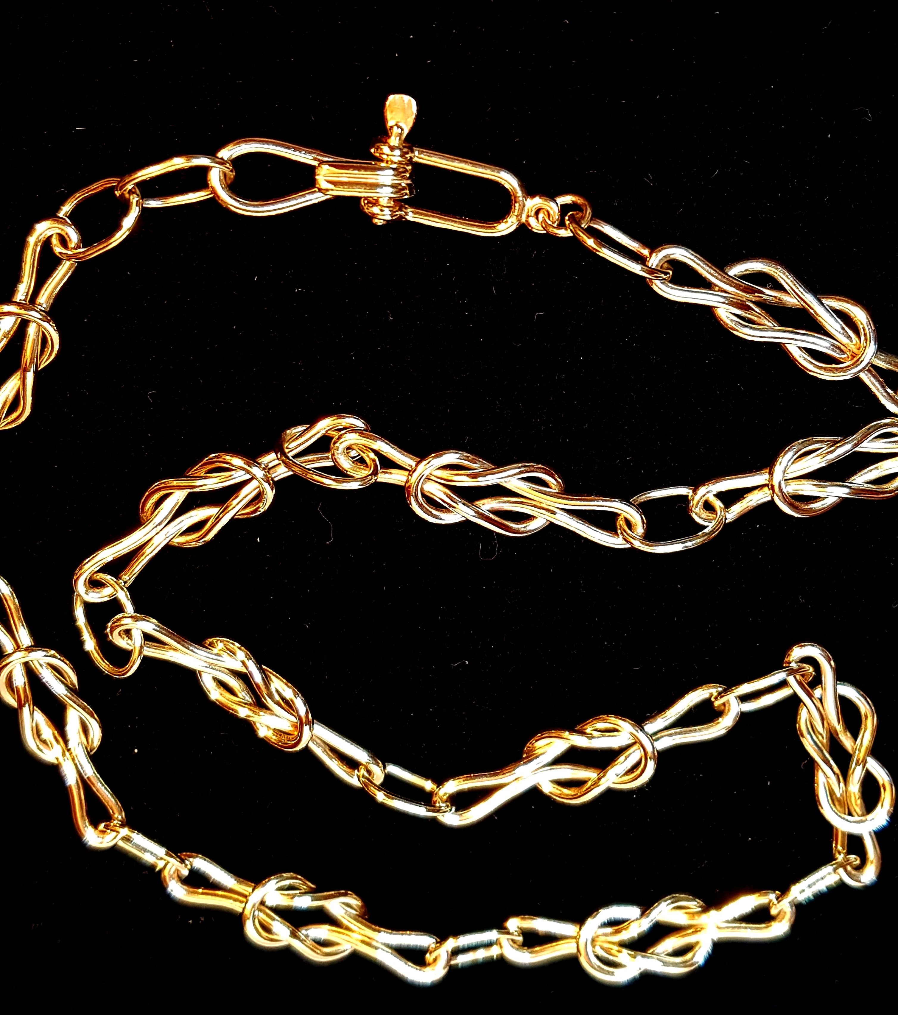 Gold Reef Knot Chain Necklace