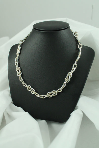 Silver Reef Knot Chain Necklace