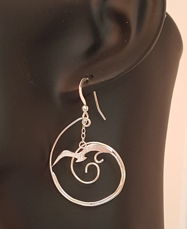 Seagull over Wave Earrings - GOLD
