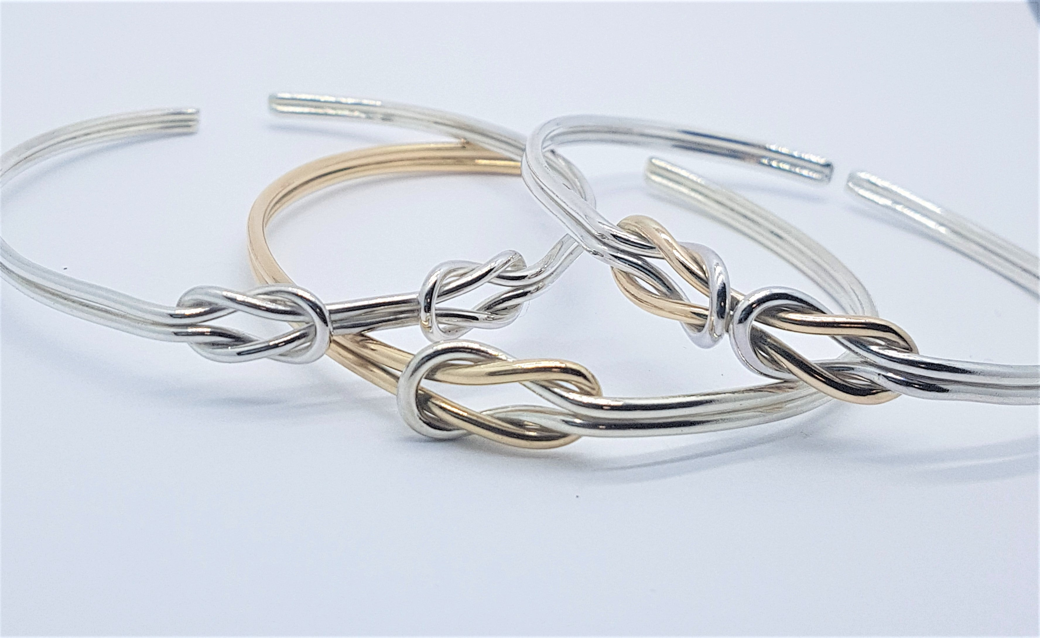 Silver and gold Double Reef Knot Bangle