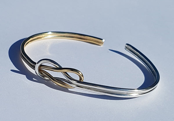 Gold/Silver Reef Knot Bangle