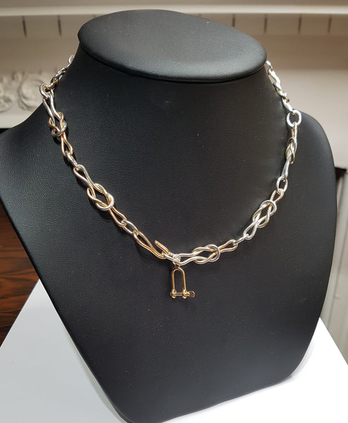 Gold and Silver Reef Knot Necklace