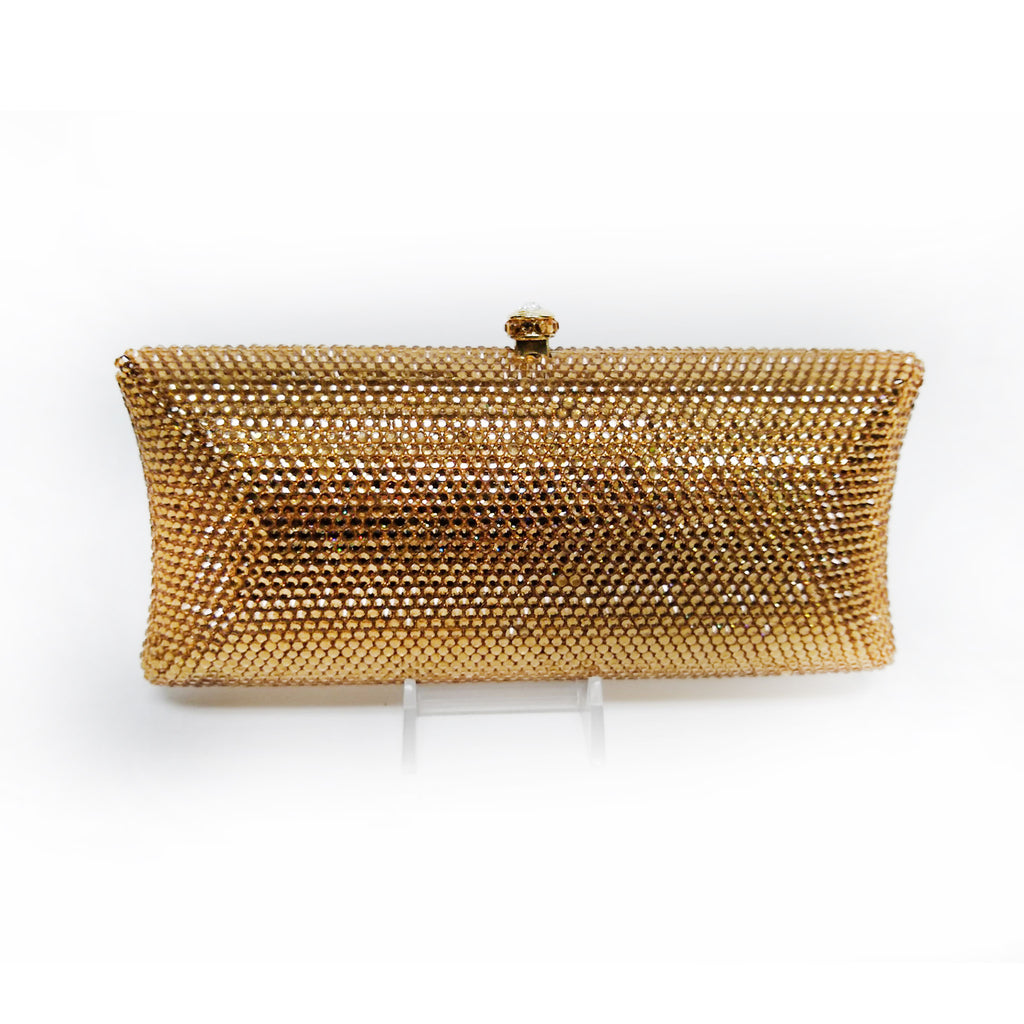Gold Swarovski Crystal Rectangle Clutch