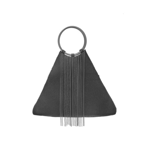 Triangle Fringe Bracelet Bag - Black