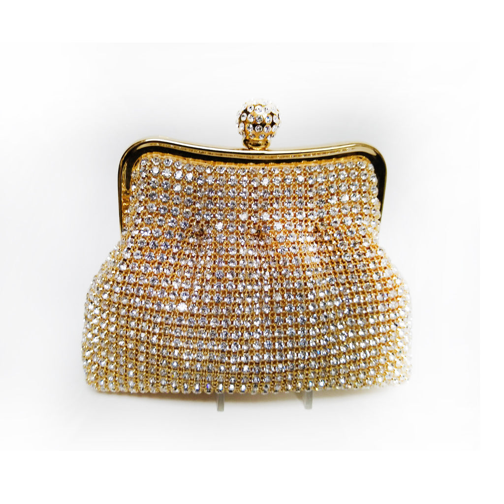 Soft Body on Frame Crystal and Gold Mini Clutch with Crystal Ball Closure