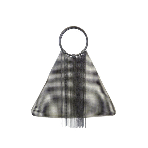 Triangle Fringe Bracelet Bag - Pewter