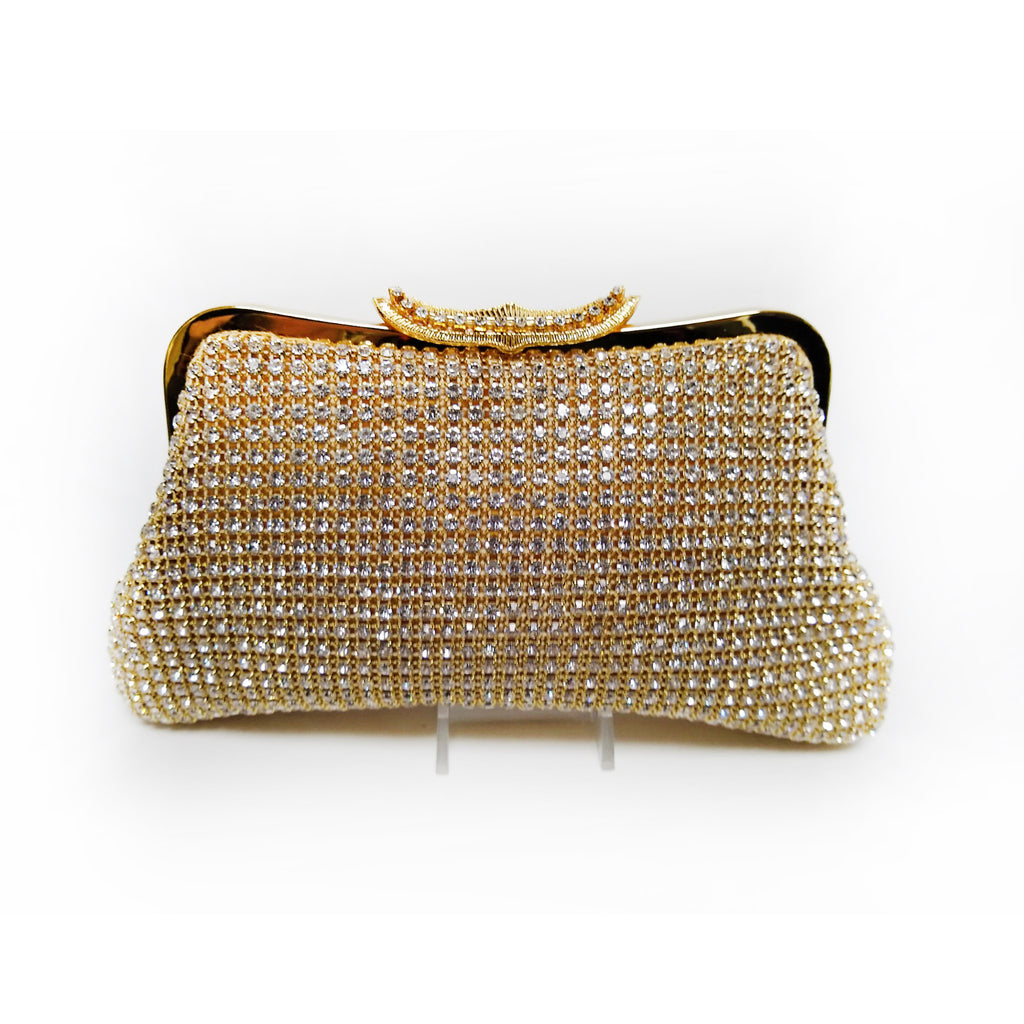 Soft Body on Frame Crystal and Gold Clutch with Long Snap Crystal Closure