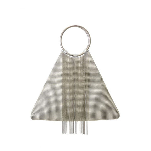 Triangle Fringe Bracelet Bag - Silver