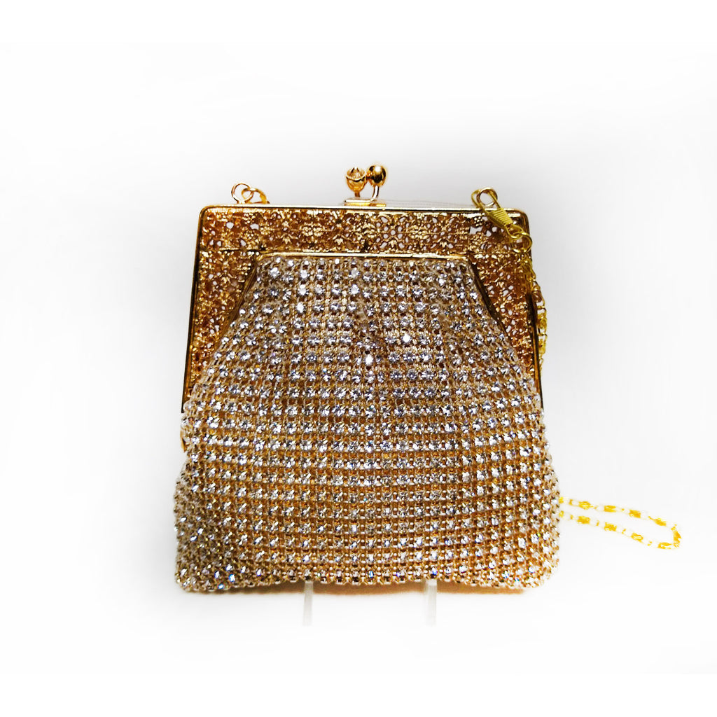 Soft Body on Frame Crystal and Gold Mini Clutch