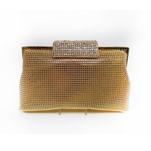 Gold Mesh Soft Body Clutch with Crystal Clasp