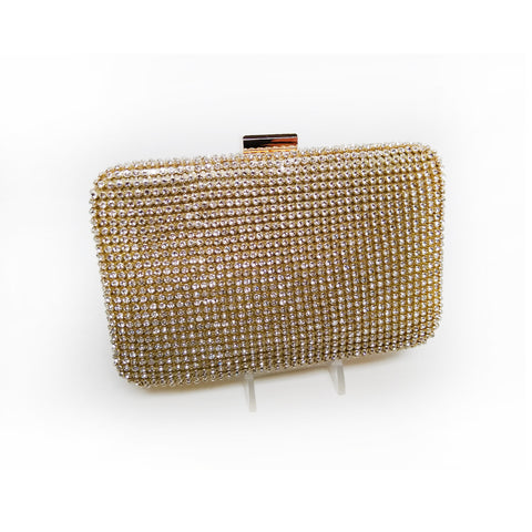 Hard Body Box Clutch in Crystal and Gold Setting
