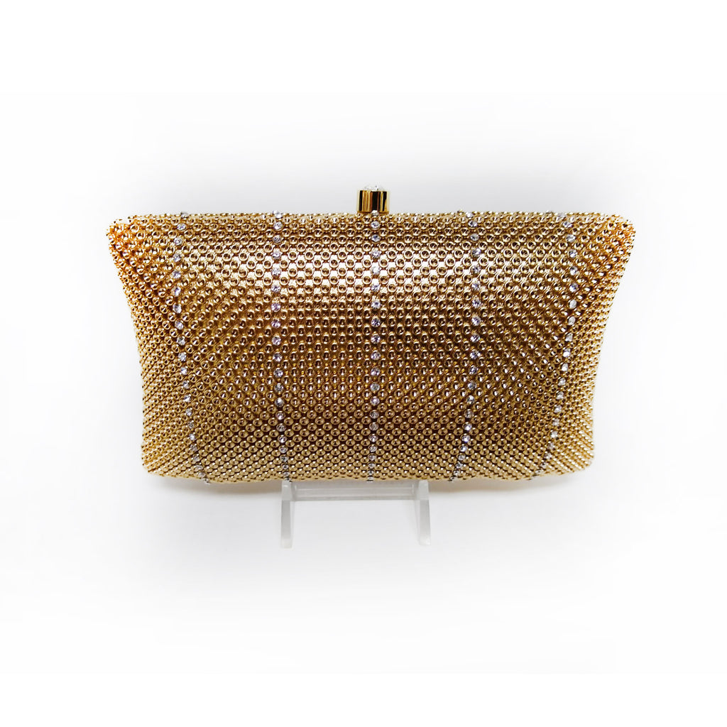 Gold Striped Crystal Mesh Clutch