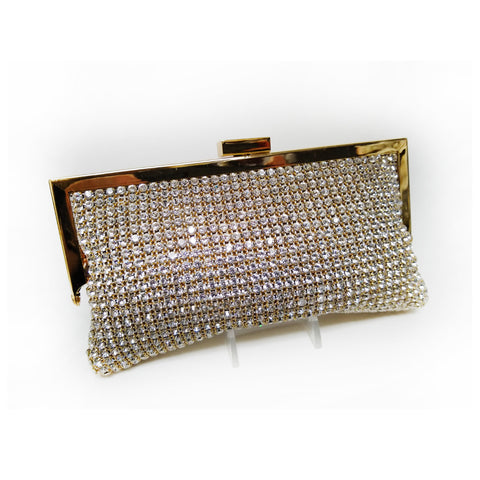 Gold Crystal Soft Body Clutch on Frame with Plain Snap Closure