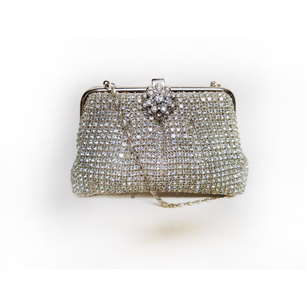 Silver Crystal Soft Body Clutch on Frame with Flower Closure