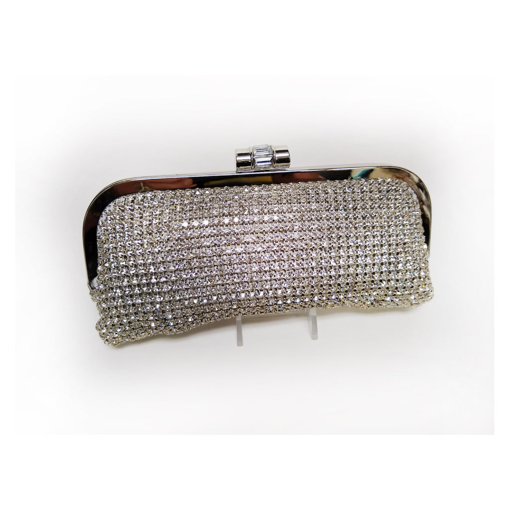 Silver Crystal Soft Body Clutch on Frame with Crystal Snap Closure