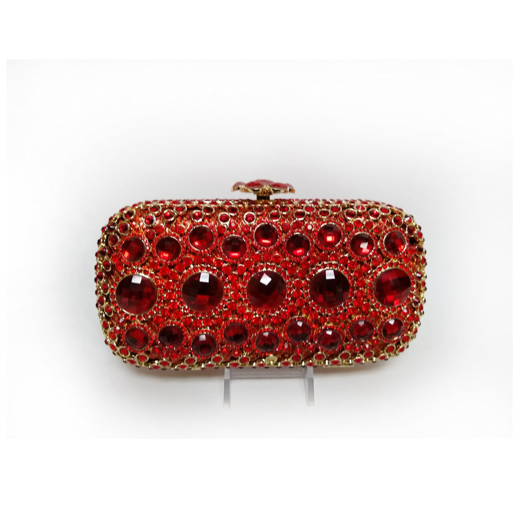 Red Hard Body Crystal Clutch with Large Stones