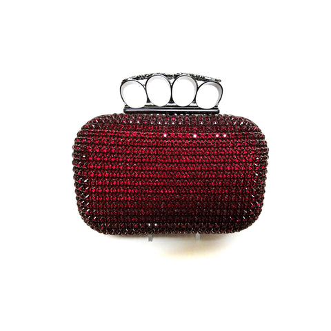Red Swarovski Crystal Hard Body Clutch with Knuckle Holder
