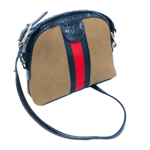 Tan Zip Satchel with Red Black Grosgrain Ribbon