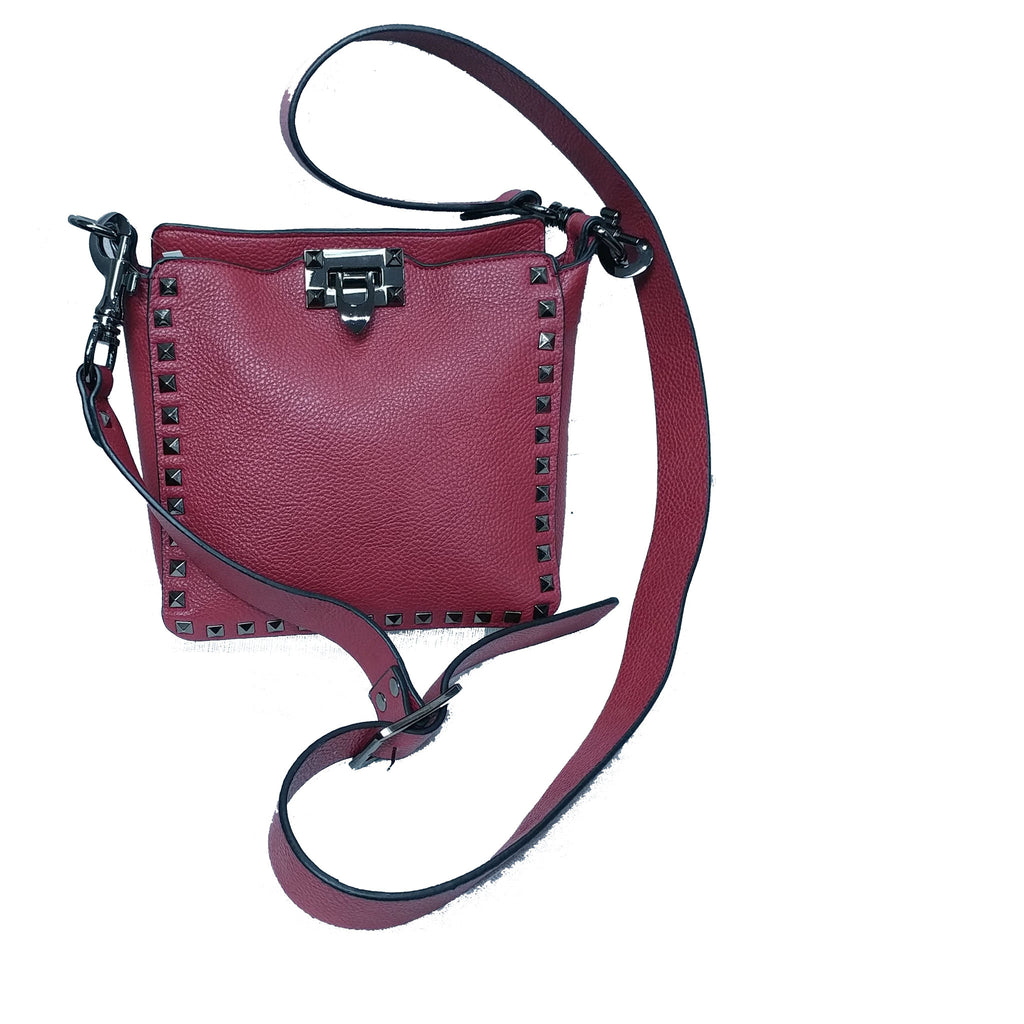 Studded Leather Crossbody - Wine Leather