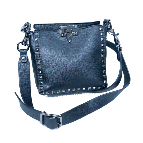 Studded Leather Crossbody - Black Leather