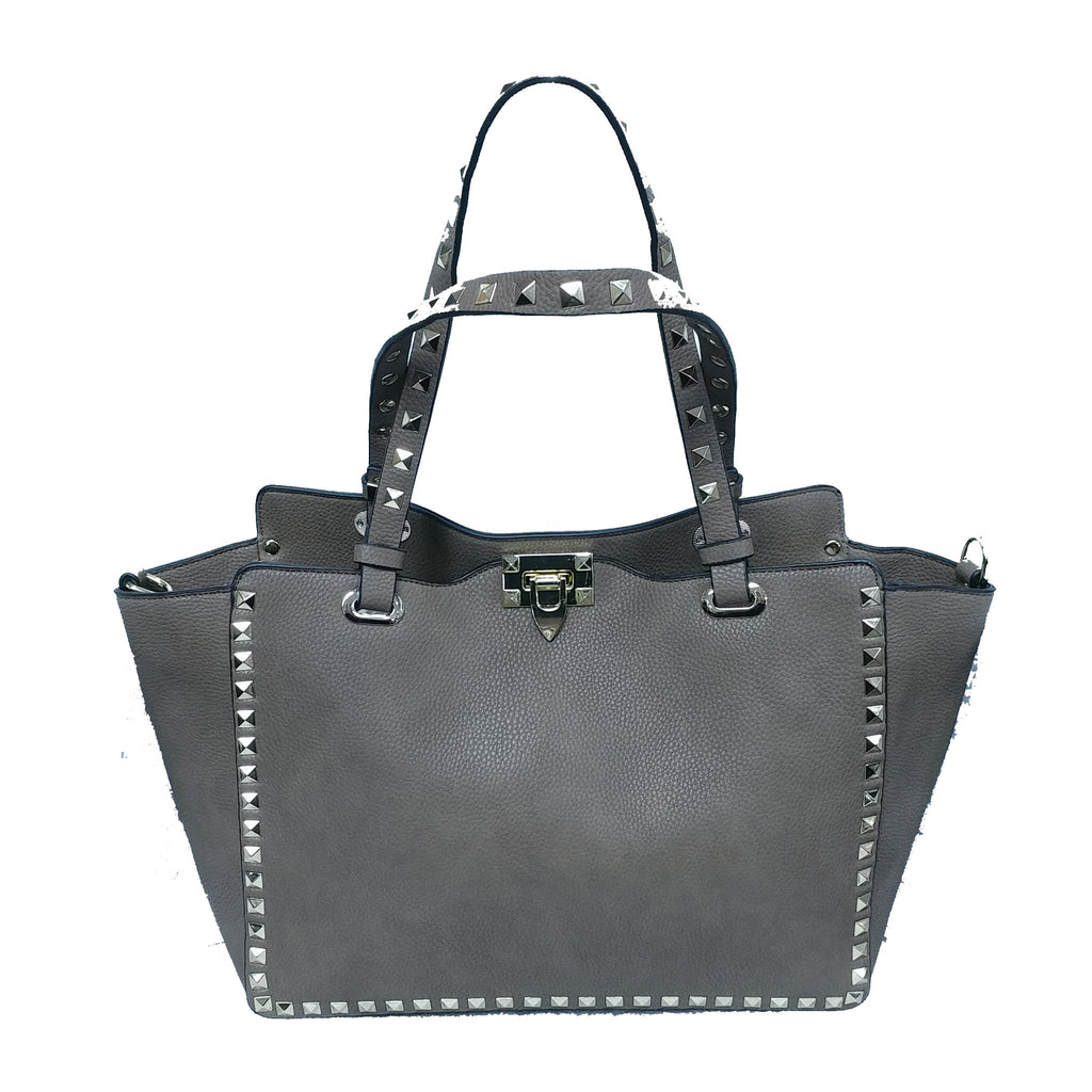 Gray Studded Bag
