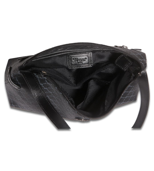Top Zip Shoulder Bag - Brooke in Black