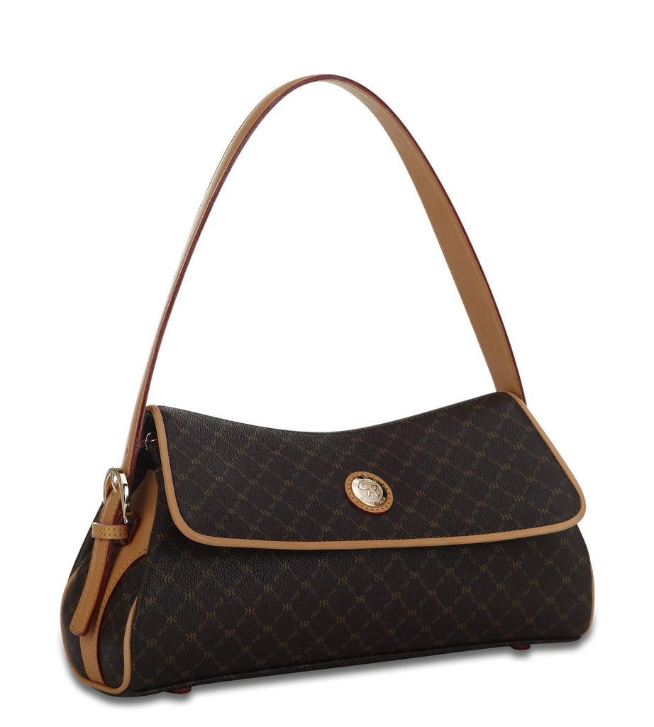 Top Flap Shoulder Bag - Caterina in Brown
