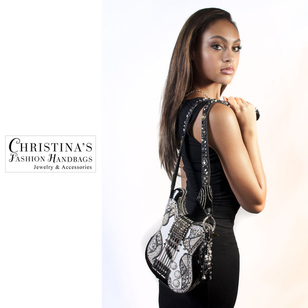 Mary Frances Black and White Crystal Covered Guitar Fashion Art Handbag - 1