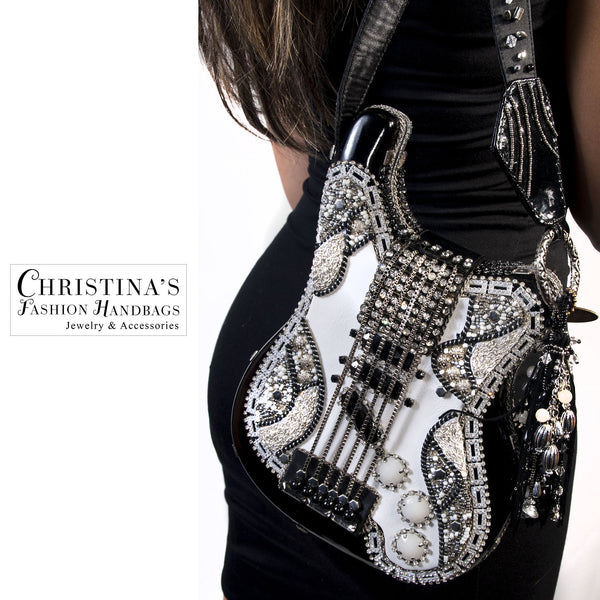 Mary Frances Black and White Crystal Covered Guitar Fashion Art Handbag - 2