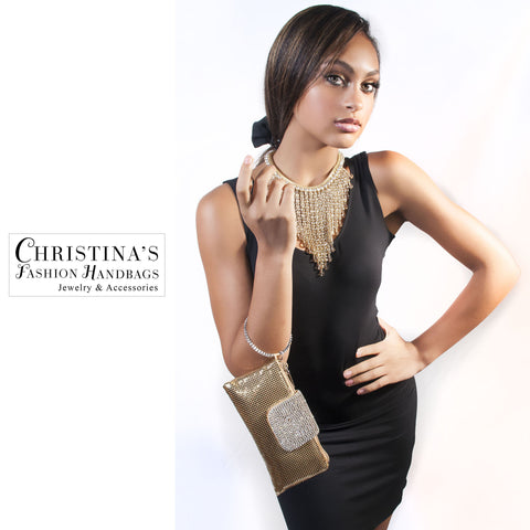 Gold and White Crystal Evening Clutch with Bracelet Handle