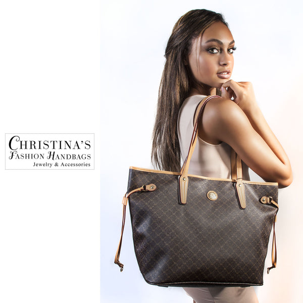 Luxury Logo Tote with Side Ties and Back Zip - 1