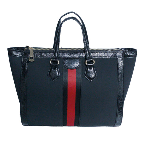 Medium Tote with Grosgrain Web Ribbon Detail - Black-Black