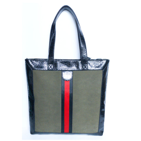 Tall Tote with Grosgrain Web Ribbon Detail - Olive-Black