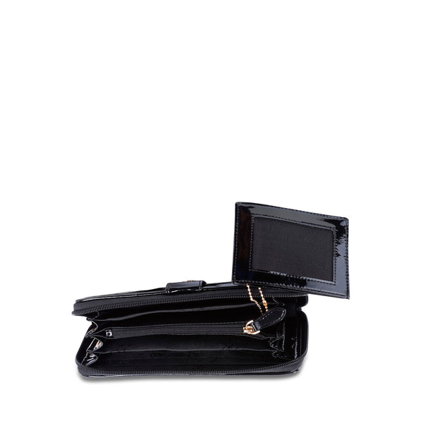 Button Zip Wallet Black - Cuscino Collection