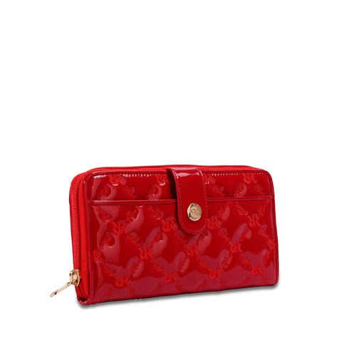 Button Zip Wallet Red - Cuscino Collection