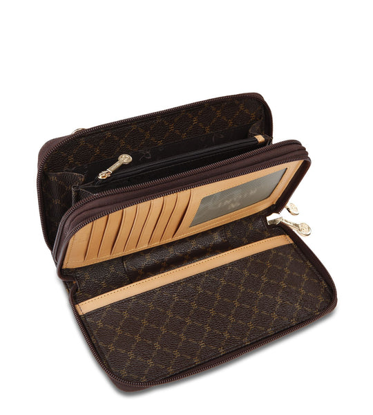 Dual Zip Wallet Organizer - Lorelai in Brown