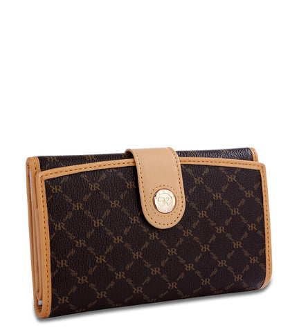 Multi-Fold Button Wallet - Piper in Brown