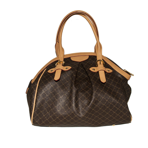 Rioni Ruched Satchel with Double Handles - Brown Logo - 3