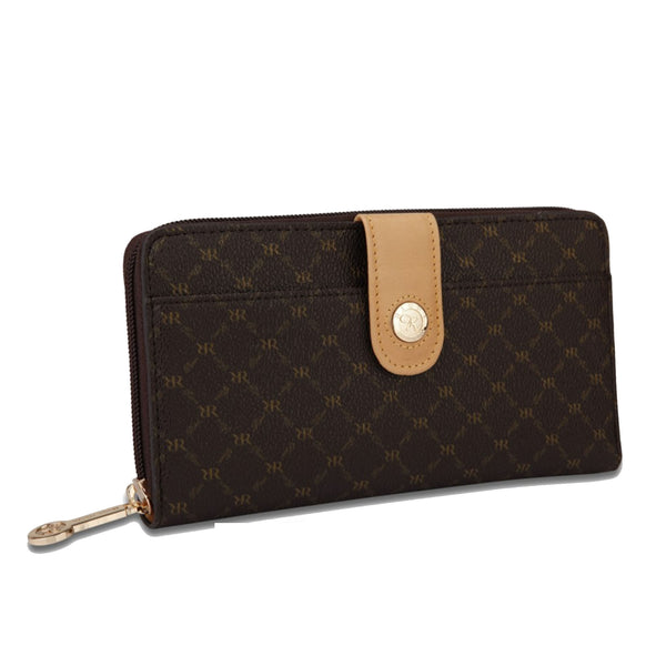 Button Front Zip Around Wallet - 2