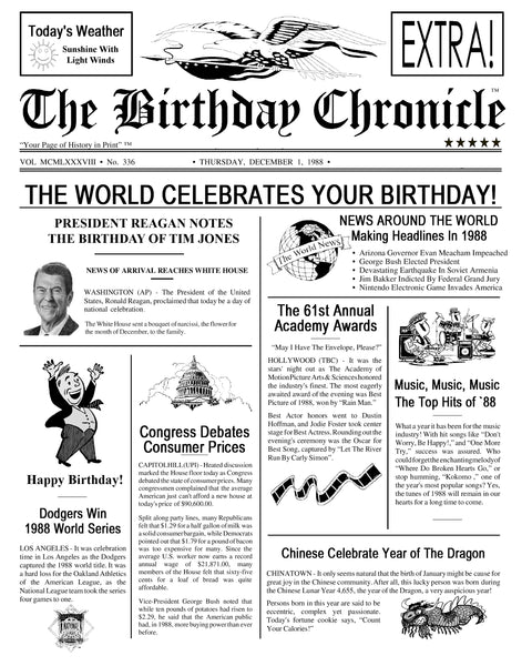 80th Birthday Gift Newspaper Party Decoration For Her Him 11 X 14 DIGITAL