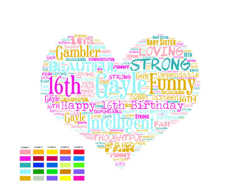 Personalized 16th Birthday Gift Sweet Sixteen Gifts 16 Word Art Poster