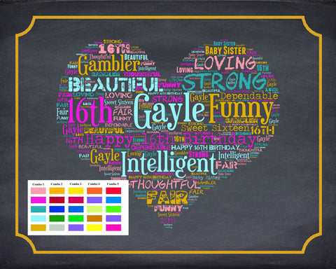 Personalized 16th Birthday Gift 16th Birthday Gift Chalkboard Sweet Sixteen Birthday Gifts 16 Birthday Word Art Poster DIGITAL DOWNLOAD .JPG