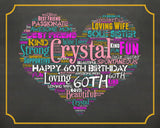 Personalized 60th Birthday Gift Sixty Birthday Gift 60th Birthday Gift Ideas 60 Birthday Chalkboard 1958 Poster DIGITAL DOWNLOAD .JPG