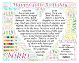 40 Birthday Gifts, Personalized, 40th Birthday Gift, Birthday Poem, 40th Birthday Gift Ideas, Unique Word Art 8 X 10 Print