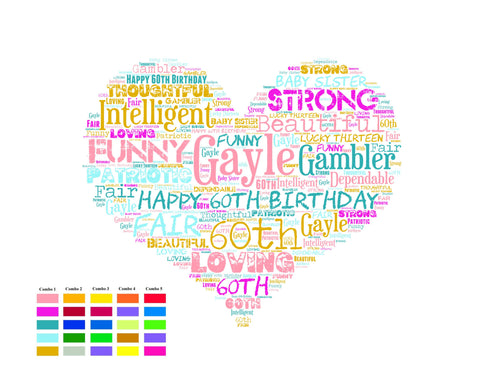 Personalized 60th Birthday Gift Heart Sixty 60 Word Art Poster