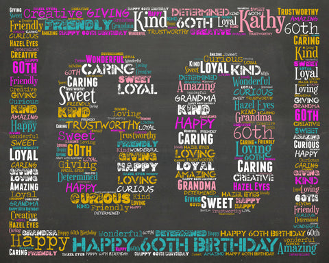 60th Birthday Gifts, Personalized 60th Birthday Gift, 60th Birthday, Sixty Birthday Gift Ideas, 60 Birthday, Chalkboard, Word Art, Poster DIGITAL DOWNLOAD .JPG
